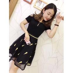 Váy họa tiết lông ngỗng, hàng nhập Quảng Châu