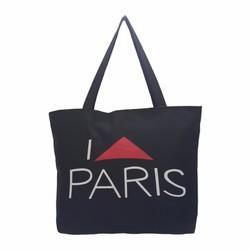 Túi Vải Tote Họa Tiết I Love Pari Đen Xinh Store