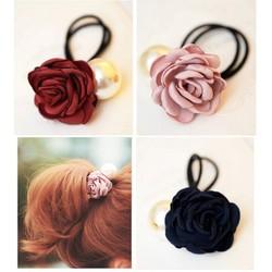 Cột tóc hoa hồng cò 2 mau xanh và hồng