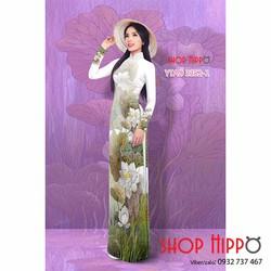 Vải áo dài tằm thái hoa sen đẹp
