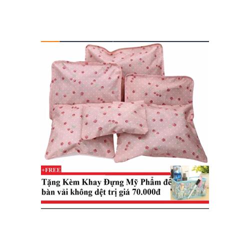 Bộ 6 túi du lịch cherry chống thấm Pink kèm khay đựng mỹ phẩm - 4348115 , 6040786 , 15_6040786 , 139000 , Bo-6-tui-du-lich-cherry-chong-tham-Pink-kem-khay-dung-my-pham-15_6040786 , sendo.vn , Bộ 6 túi du lịch cherry chống thấm Pink kèm khay đựng mỹ phẩm