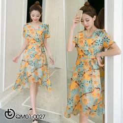 Váy hoa vàng thắt nơ  eo vạt xéo - hàng nhập Quảng Châu cao cấp