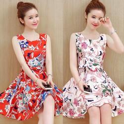 Đầm xòe họa tiết mùa hè xinh xắn - hàng nhập Quảng Châu cao cấp