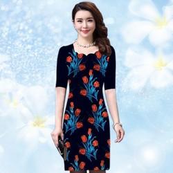 Đầm in 3D cổ răng cưa cách điêu hoa Tulip màu xanh đen có size XXXL