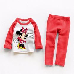 Bộ ngủ bé gái dễ thương hình chuột Mickey đỏ NX1044