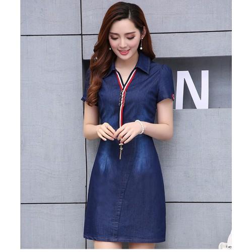 Đầm Jeans Cổ Phối Viền Thanh Lịch D689