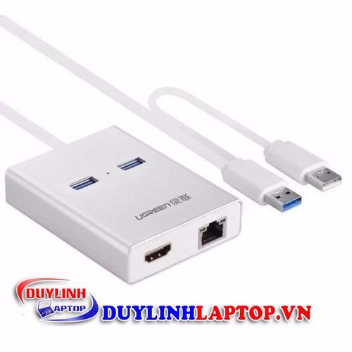 Cáp chuyển đổi USB 3.0 to HDMI và 2 đầu USB 3.0 + Lan UGREEN 40255