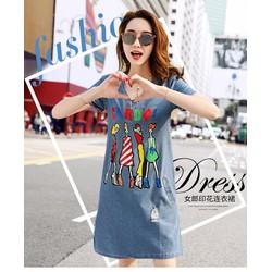 Đầm Jeans Hình Cô Gái Thời Trang D691