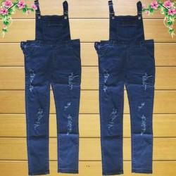 Quần Yếm Jeans Dài Rách Xanh Đậm_GS140