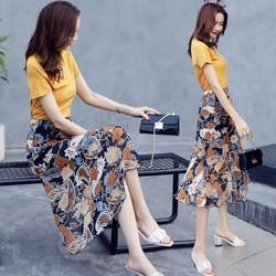 Hàng nhập - sét áo thun và Chân váy voan hoa GS217