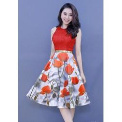 Đầm Ren Tùng Xòe Hoa Tulip Cao Cấp- D514