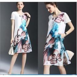Đầm suông họa tiết cao cấp - hàng nhập Hồng Công