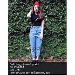 Quần baggy jean nữ lưng cao
