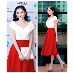 Set áo trễ vai váy đỏ xòe cách điệu HH Diễm Hương - setVN028