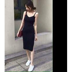 Đầm thun body 2 dây xẻ đùi màu đen cực xinh