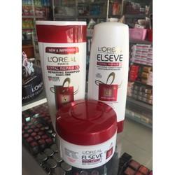Bộ dầu gội, dầu xả và kem ủ chăm sóc tóc hư tổn Loreal