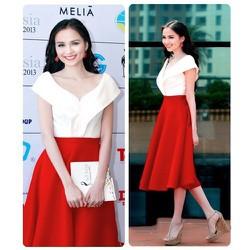 Set áo trễ vai váy đỏ xòe cách điệu HH Diễm Hương VN028