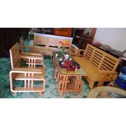Bộ bàn ghế salon phòng khách gỗ sồi mẫu G