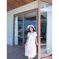 Đầm suông lệch vai đơn giản xinh xắn