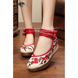Giày Vải Thêu Hoa Tỉ Mỉ Rất Đẹp