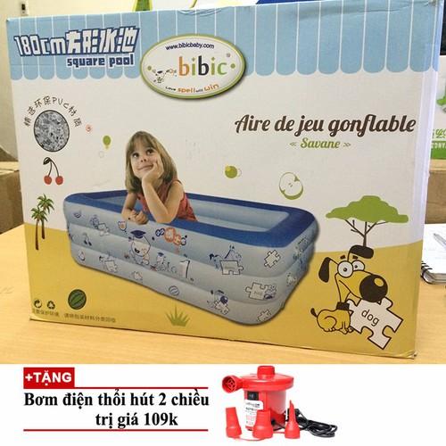 Bể bơi phao gia đình 1m80 tặng bơm điện 2 chiều