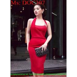 Đầm body 2 dây thiết kế mới lạ màu đỏ sang trọng DOC307