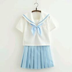 SET thủy thủ ngắn tay xanh lam đồng phục học sinh Nhật Bản