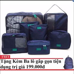 Bộ 7 túi du lịch cao cấp tiện dụng Blue Kèm balo du lịch gấp gọn