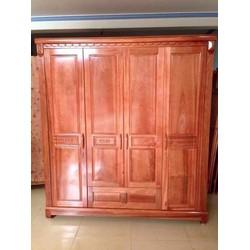 tủ gỗ đựng quần áo 4 canh gỗ xoan đào