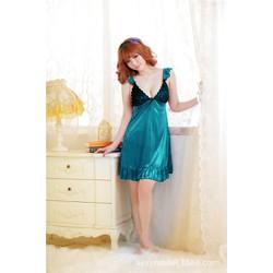 Đầm ngủ thun phi 2 dây bèo