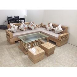 bộ bàn ghế salon phòng khách gỗ sồi