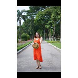 Đầm cam hoạ tiết con cáo size M