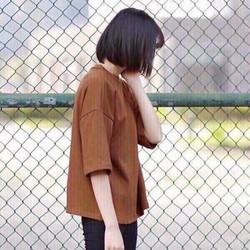 áo thun nữ tay lỡ trơn màu nâu cực style cá tính