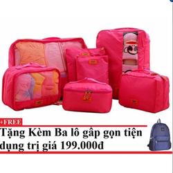 Bộ 7 túi du lịch cao cấp tiện dụng Pink Kèm balo du lịch gấp gọn