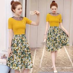 Đầm xòe chân hoa cổ phối ren lưới cao cấp - hàng nhập Quảng Châu
