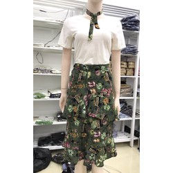 Set Váy Hoa Áo Thun Kèm Dây Cổ