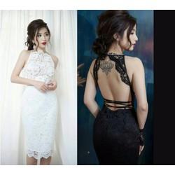Đầm body ren hở lưng sexy