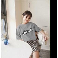Áo thun nữ form rộng in chữ Pluto xám xinh dễ thương