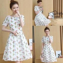Đầm voan xòe họa tiết thanh lịch - hàng nhập Quảng Châu cao cấp