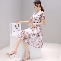 Đầm xoè in bông hoa 3D nhẹ nhàng xinh xắn