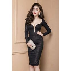 Đầm đen cổ tim sâu thiết kế ôm body dài tay quý phái