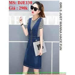 Váy yếm jean 2 dây phối khóa kéo sành điệu và thời trang DJE130