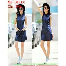Đầm jean nữ công sở kiểu sát nách phối túi sành điệu DJE137