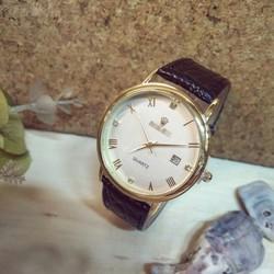 Đồng hồ nam viền vàng dây da có lịch