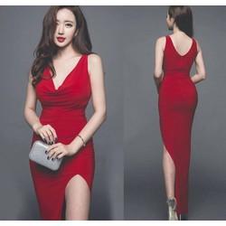 Đầm dài dự tiệc cưới thiết kê cỗ đỗ ôm body xẻ tà màu đỏ