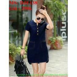 Đầm jean nữ ngắn tay cổ tròn kiểu dáng trẻ trung và thời trang DJE138