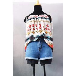 Quần sooc jean lưng cao