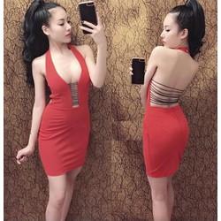Đầm body hở lưng đan dây sexy
