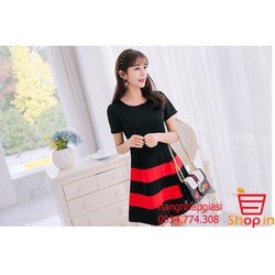 Đầm thời trang đen phối đỏ nhập khẩu trực tiếp từ Hong Kong AD47