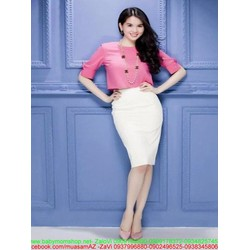 Sét áo kiểu tay đính nơ xinh đẹp và chân váy ôm thời trang SEV362